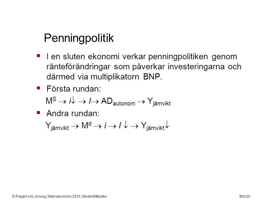 © Fregert och Jonung, Makroekonomi, 2010, StudentlitteraturBild 20 Penningpolitik  I en sluten ekonomi verkar penningpolitiken genom ränteförändringa