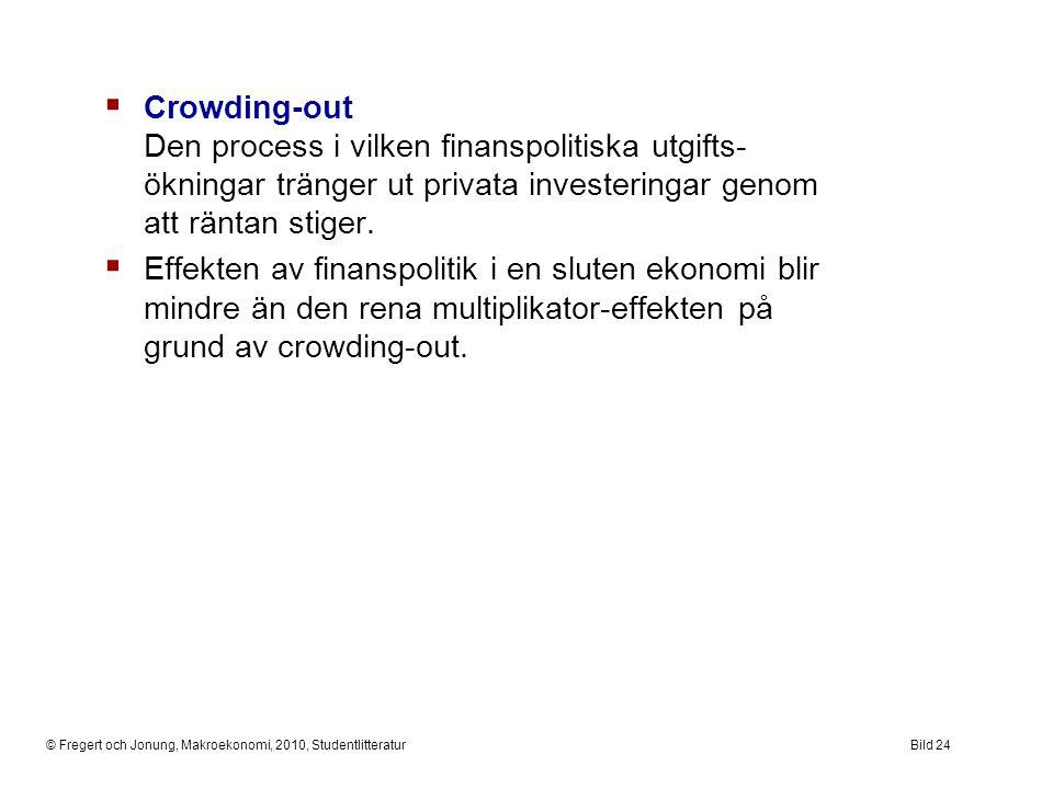 © Fregert och Jonung, Makroekonomi, 2010, StudentlitteraturBild 24  Crowding-out Den process i vilken finanspolitiska utgifts- ökningar tränger ut pr