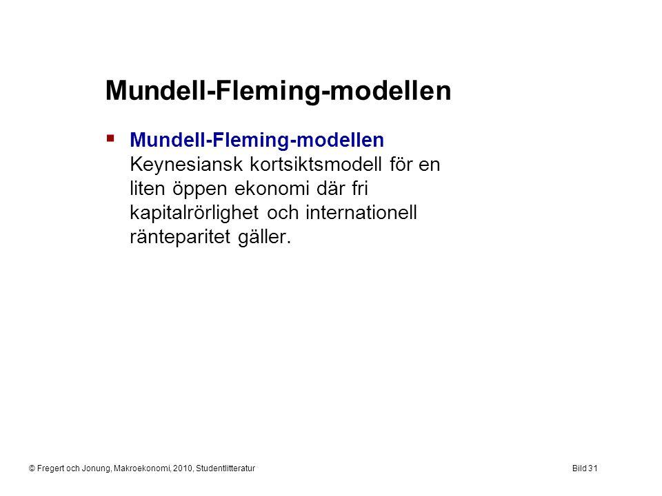 © Fregert och Jonung, Makroekonomi, 2010, StudentlitteraturBild 31 Mundell-Fleming-modellen  Mundell-Fleming-modellen Keynesiansk kortsiktsmodell för