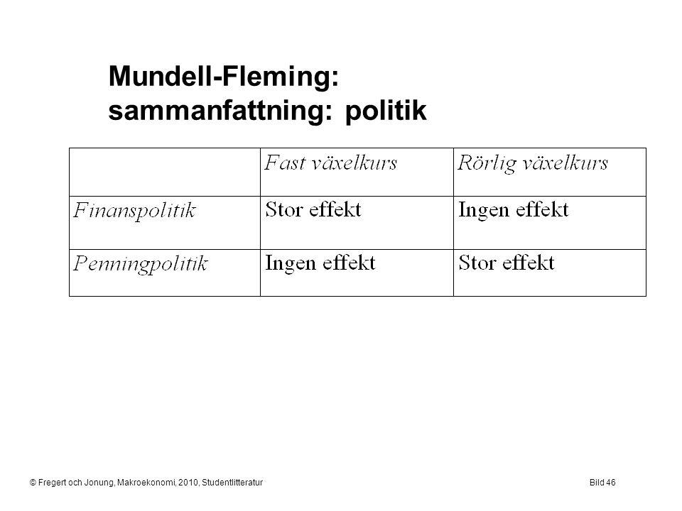 © Fregert och Jonung, Makroekonomi, 2010, StudentlitteraturBild 46 Mundell-Fleming: sammanfattning: politik