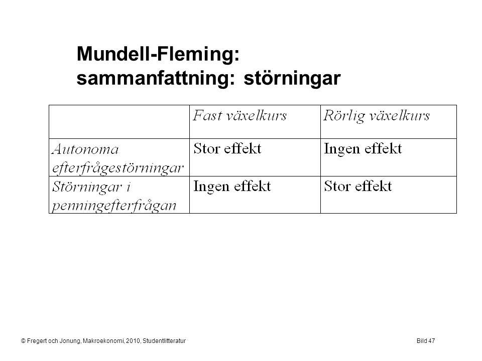 © Fregert och Jonung, Makroekonomi, 2010, StudentlitteraturBild 47 Mundell-Fleming: sammanfattning: störningar