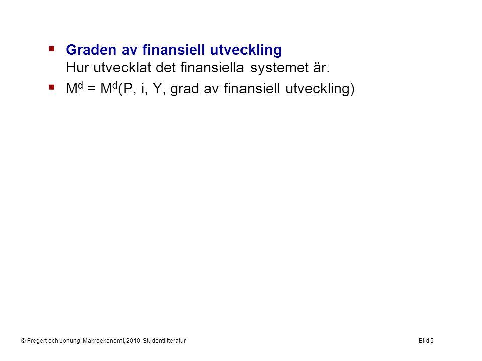© Fregert och Jonung, Makroekonomi, 2010, StudentlitteraturBild 5  Graden av finansiell utveckling Hur utvecklat det finansiella systemet är.  M d =