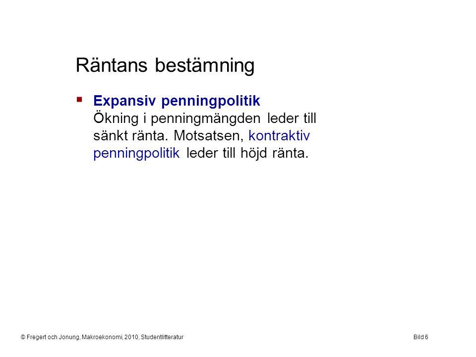 © Fregert och Jonung, Makroekonomi, 2010, StudentlitteraturBild 6 Räntans bestämning  Expansiv penningpolitik Ökning i penningmängden leder till sänk