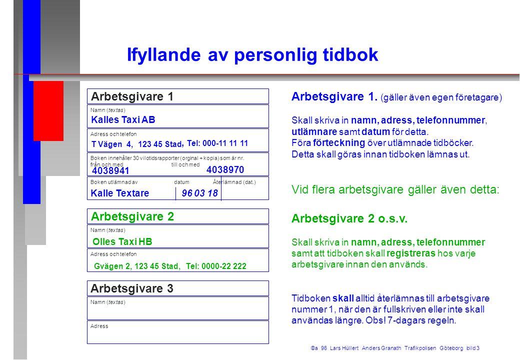 Arbetsgivare 1 Namn (textas) Kalles Taxi AB T Vägen 4, 123 45 Stad Boken utlämnad av datum Återlämnad (dat.) Boken innehåller 30 vilotidsrapporter (or