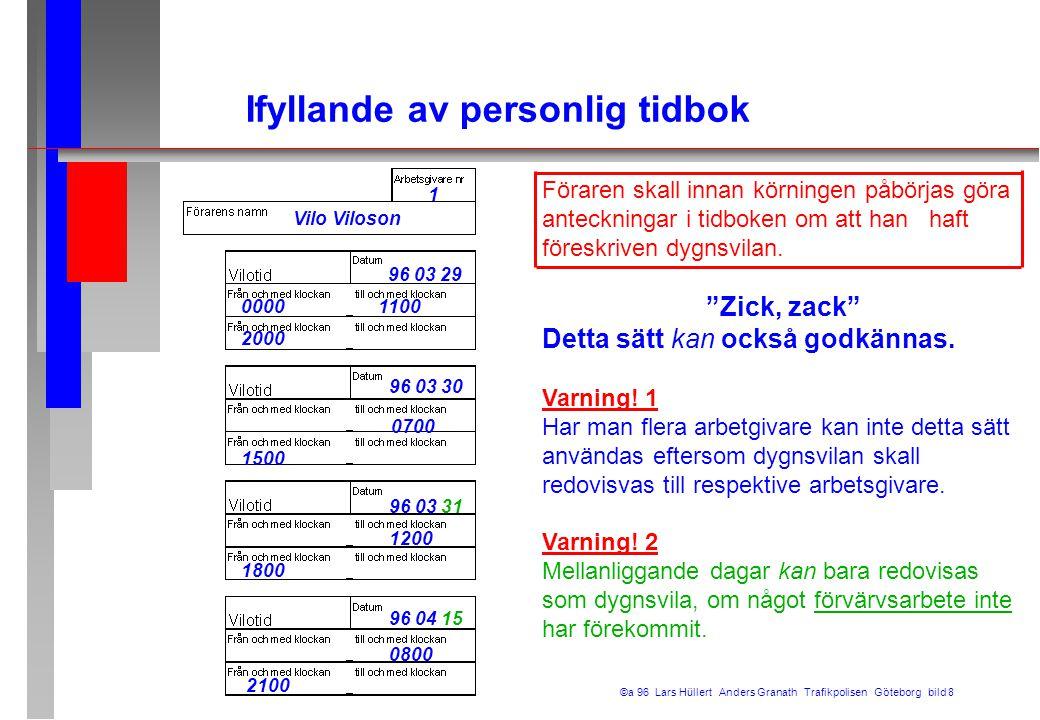 Ifyllande av personlig tidbok ©a 96 Lars Hüllert Anders Granath Trafikpolisen Göteborg bild 8 1 Vilo Viloson 96 03 29 0000 1100 2000 96 03 30 0700 150