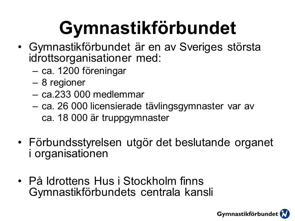 Gymnastikförbundet •Gymnastikförbundet är en av Sveriges största idrottsorganisationer med: –ca.