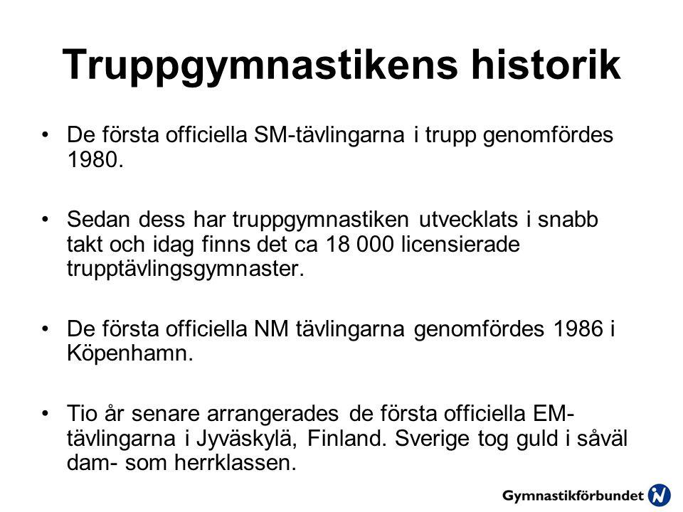 Truppgymnastikens historik •De första officiella SM-tävlingarna i trupp genomfördes 1980.
