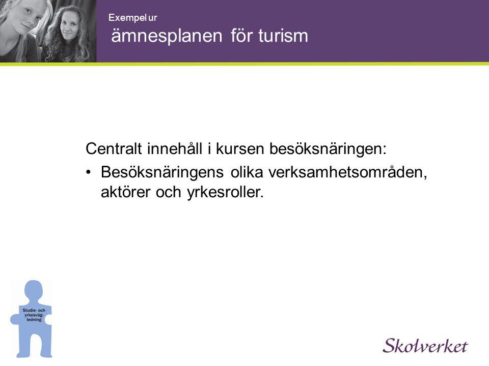 Centralt innehåll i kursen besöksnäringen: •Besöksnäringens olika verksamhetsområden, aktörer och yrkesroller. Exempel ur ämnesplanen för turism