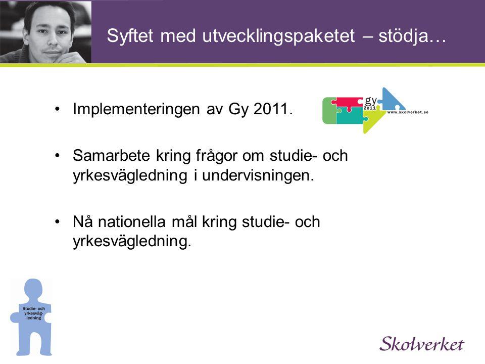 Syftet med utvecklingspaketet – stödja… •Implementeringen av Gy 2011. •Samarbete kring frågor om studie- och yrkesvägledning i undervisningen. •Nå nat