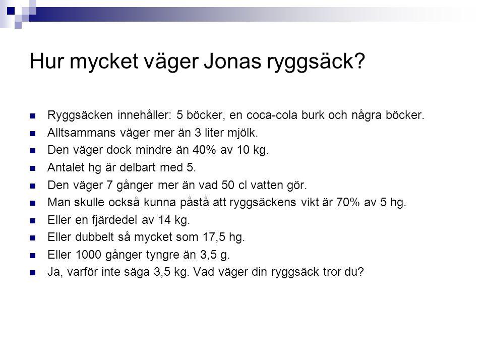 Hur mycket väger Jonas ryggsäck?  Ryggsäcken innehåller: 5 böcker, en coca-cola burk och några böcker.  Alltsammans väger mer än 3 liter mjölk.  De