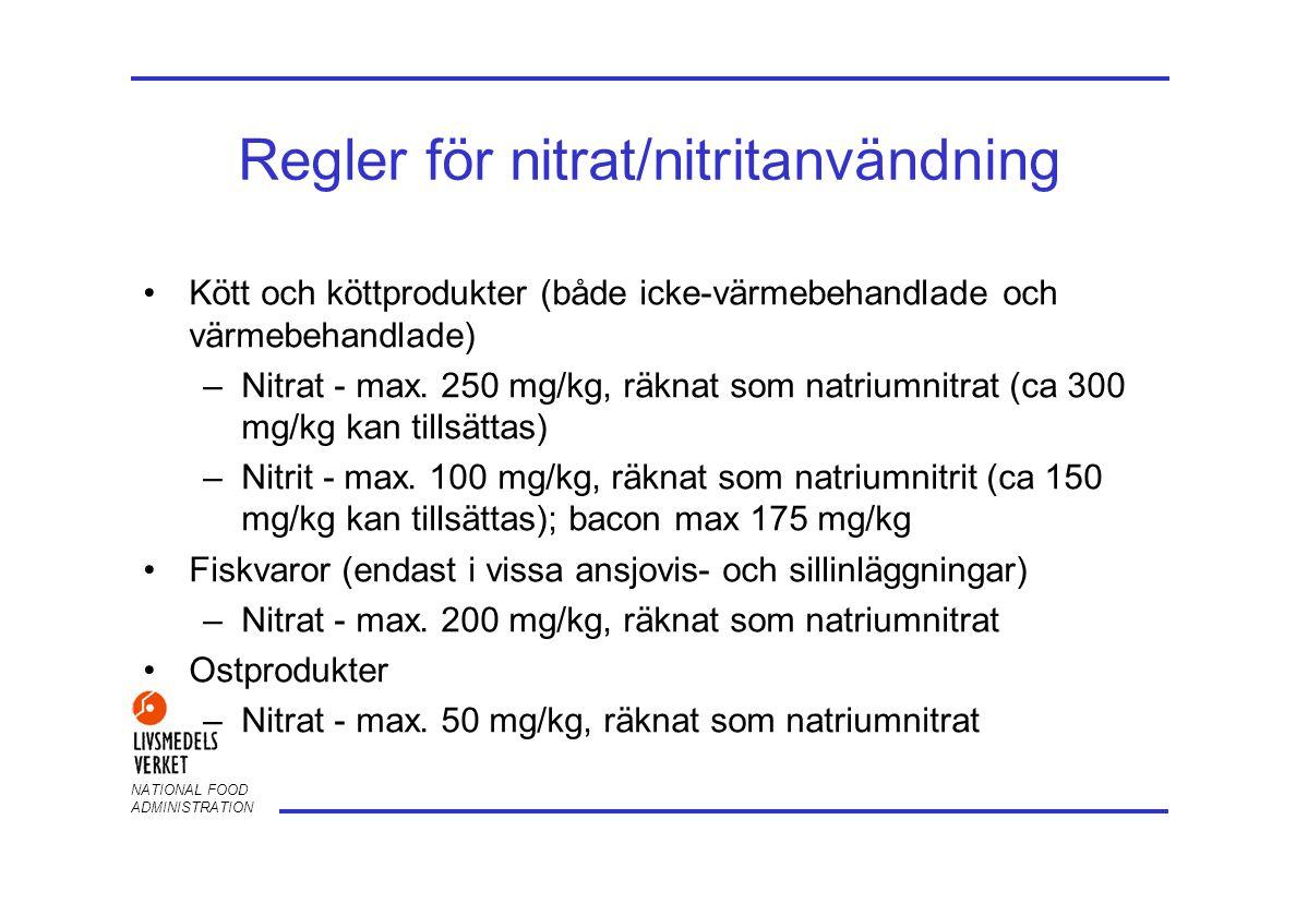 NATIONAL FOOD ADMINISTRATION Regler för nitrat/nitritanvändning •Kött och köttprodukter (både icke-värmebehandlade och värmebehandlade) –Nitrat - max.