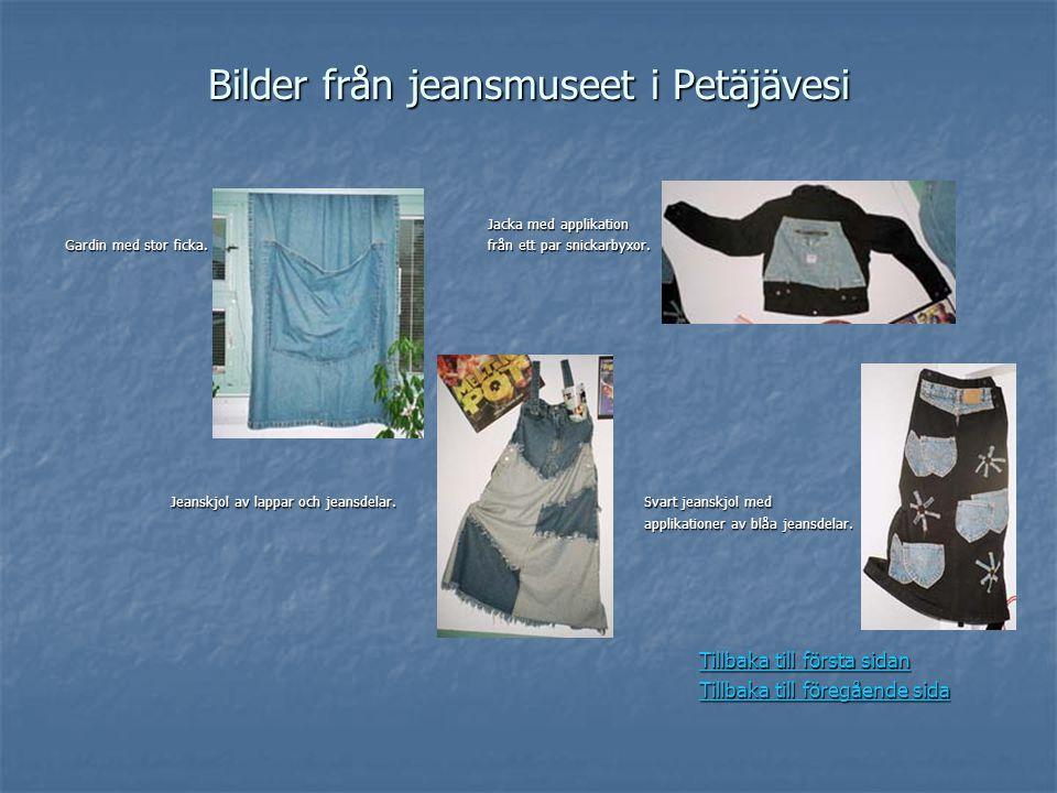 Bilder från jeansmuseet i Petäjävesi Jacka med applikation Gardin med stor ficka.från ett par snickarbyxor. Jeanskjol av lappar och jeansdelar. Svart