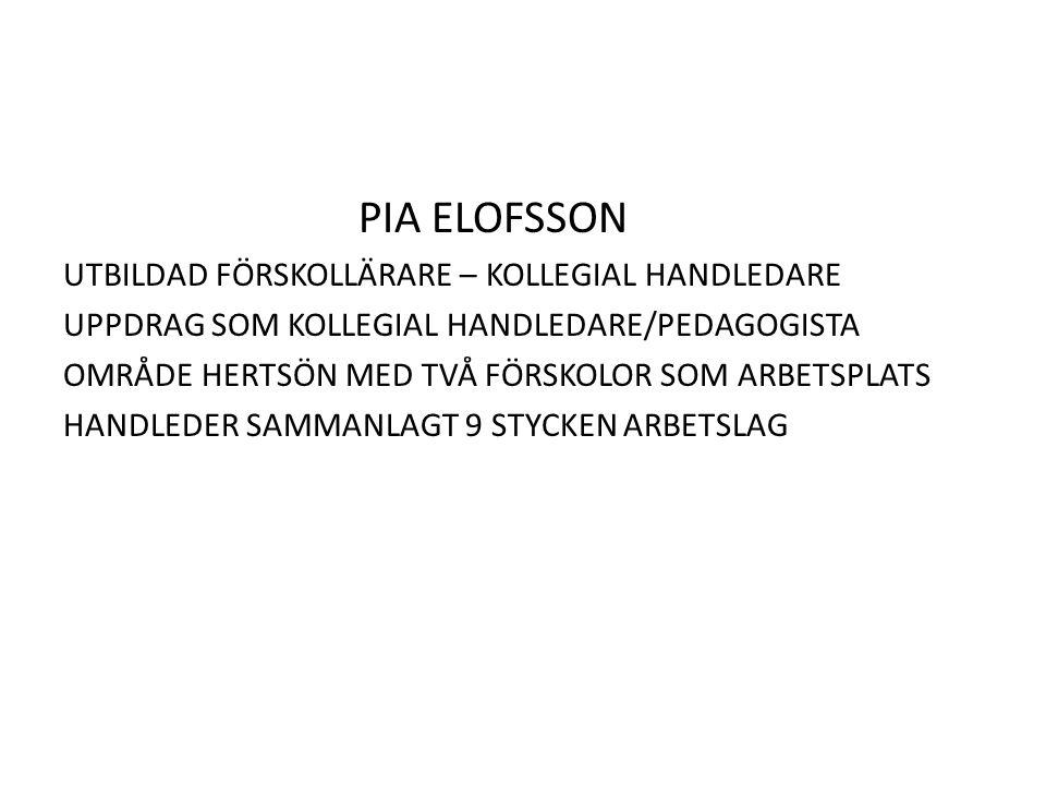 PIA ELOFSSON UTBILDAD FÖRSKOLLÄRARE – KOLLEGIAL HANDLEDARE UPPDRAG SOM KOLLEGIAL HANDLEDARE/PEDAGOGISTA OMRÅDE HERTSÖN MED TVÅ FÖRSKOLOR SOM ARBETSPLATS HANDLEDER SAMMANLAGT 9 STYCKEN ARBETSLAG