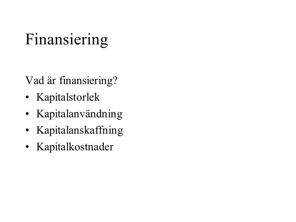 Finansiering Vad är finansiering.