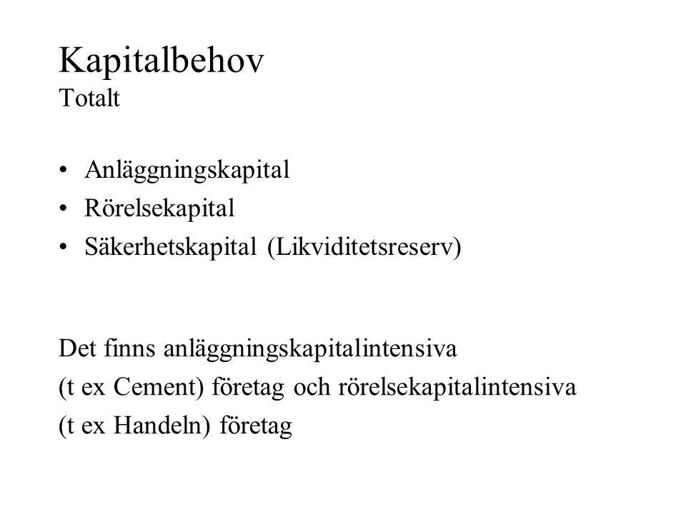 Kapitalbehov Totalt •Anläggningskapital •Rörelsekapital •Säkerhetskapital (Likviditetsreserv) Det finns anläggningskapitalintensiva (t ex Cement) företag och rörelsekapitalintensiva (t ex Handeln) företag