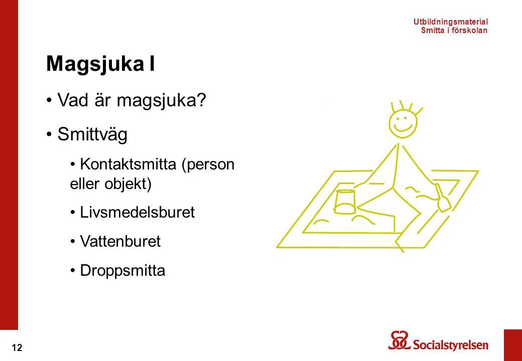12 • Vad är magsjuka? • Smittväg • Kontaktsmitta (person eller objekt) • Livsmedelsburet • Vattenburet • Droppsmitta Magsjuka I Utbildningsmaterial Sm