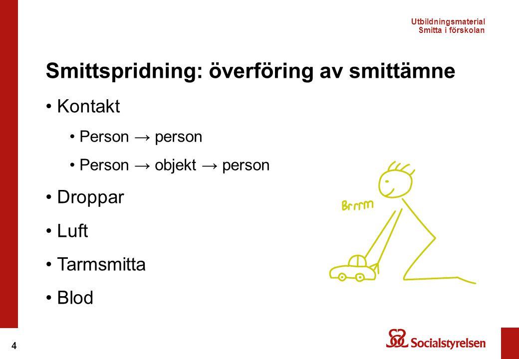 4 Smittspridning: överföring av smittämne • Kontakt • Person → person • Person → objekt → person • Droppar • Luft • Tarmsmitta • Blod Utbildningsmater