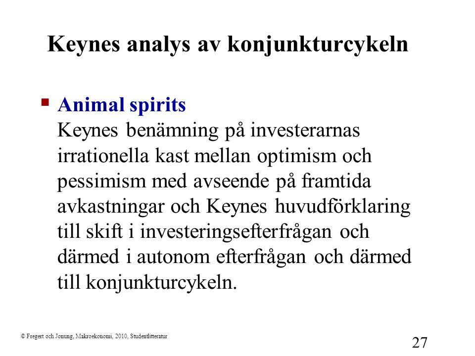 © Fregert och Jonung, Makroekonomi, 2010, Studentlitteratur 27 Keynes analys av konjunkturcykeln  Animal spirits Keynes benämning på investerarnas ir