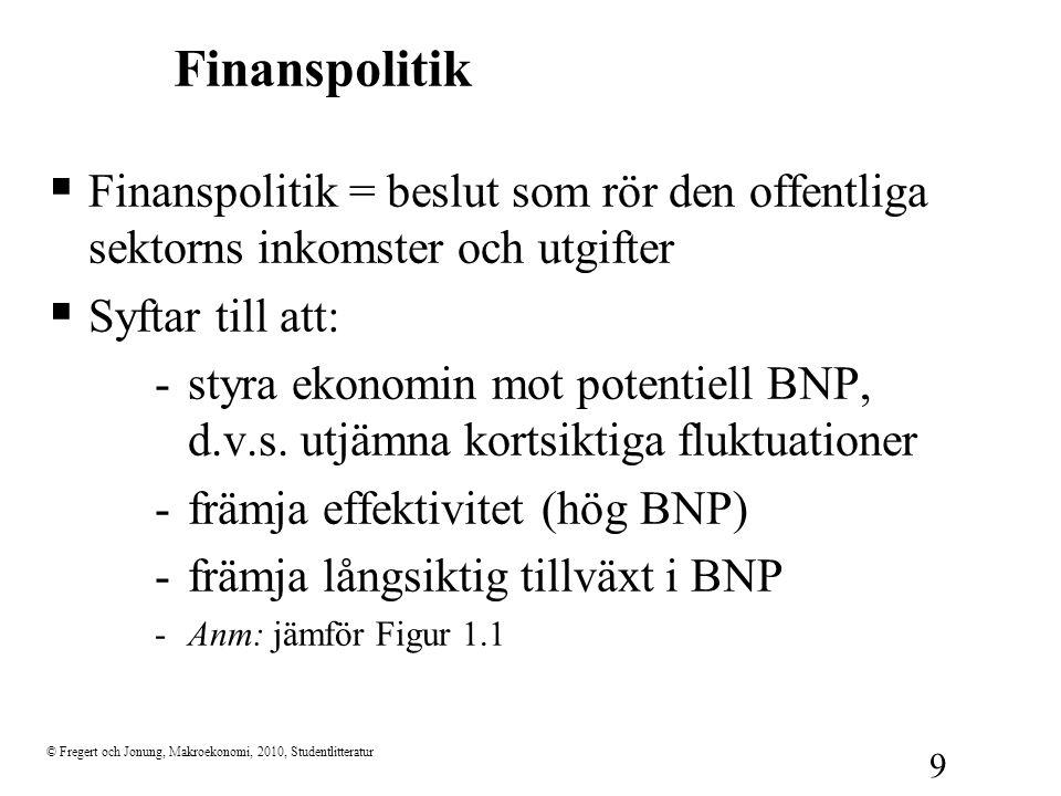 © Fregert och Jonung, Makroekonomi, 2010, Studentlitteratur 9 Finanspolitik  Finanspolitik = beslut som rör den offentliga sektorns inkomster och utg