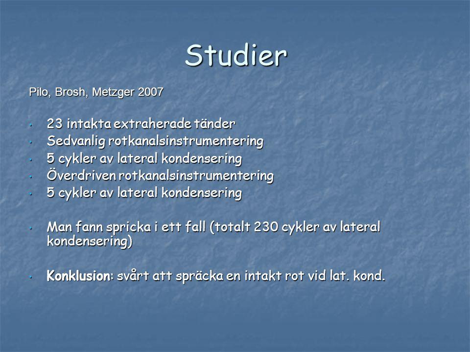 Studier Pilo, Brosh, Metzger 2007 • 23 intakta extraherade tänder • Sedvanlig rotkanalsinstrumentering • 5 cykler av lateral kondensering • Överdriven