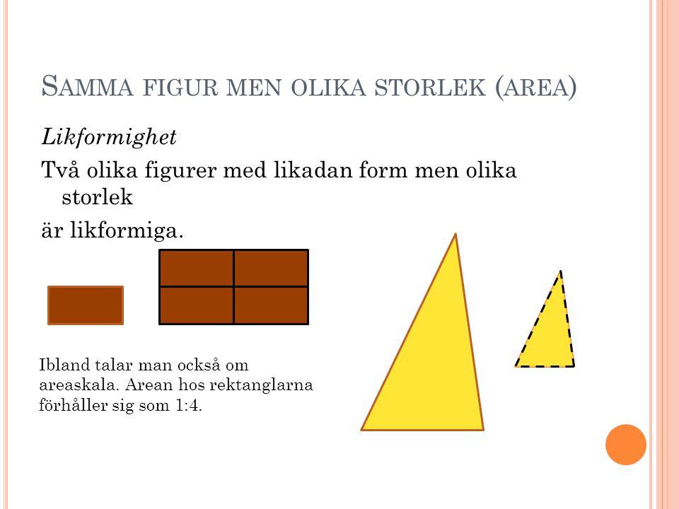 S AMMA FIGUR MEN OLIKA STORLEK ( AREA ) Likformighet Två olika figurer med likadan form men olika storlek är likformiga. Ibland talar man också om are