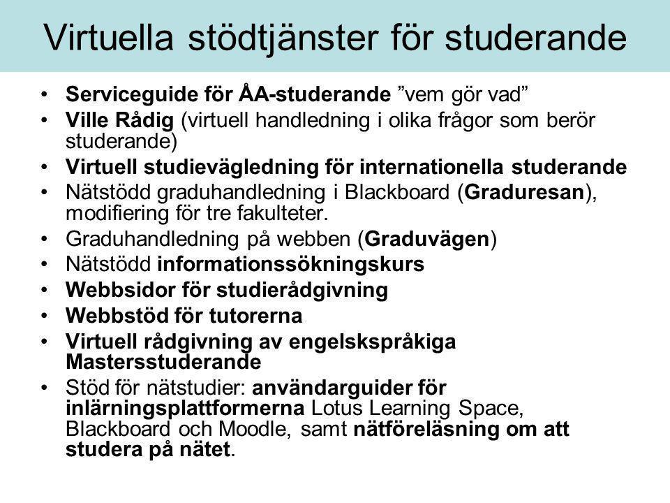 """Virtuella stödtjänster för studerande •Serviceguide för ÅA-studerande """"vem gör vad"""" •Ville Rådig (virtuell handledning i olika frågor som berör studer"""