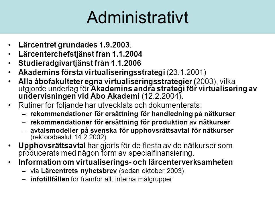 Administrativt •Lärcentret grundades 1.9.2003. •Lärcenterchefstjänst från 1.1.2004 •Studierådgivartjänst från 1.1.2006 •Akademins första virtualiserin