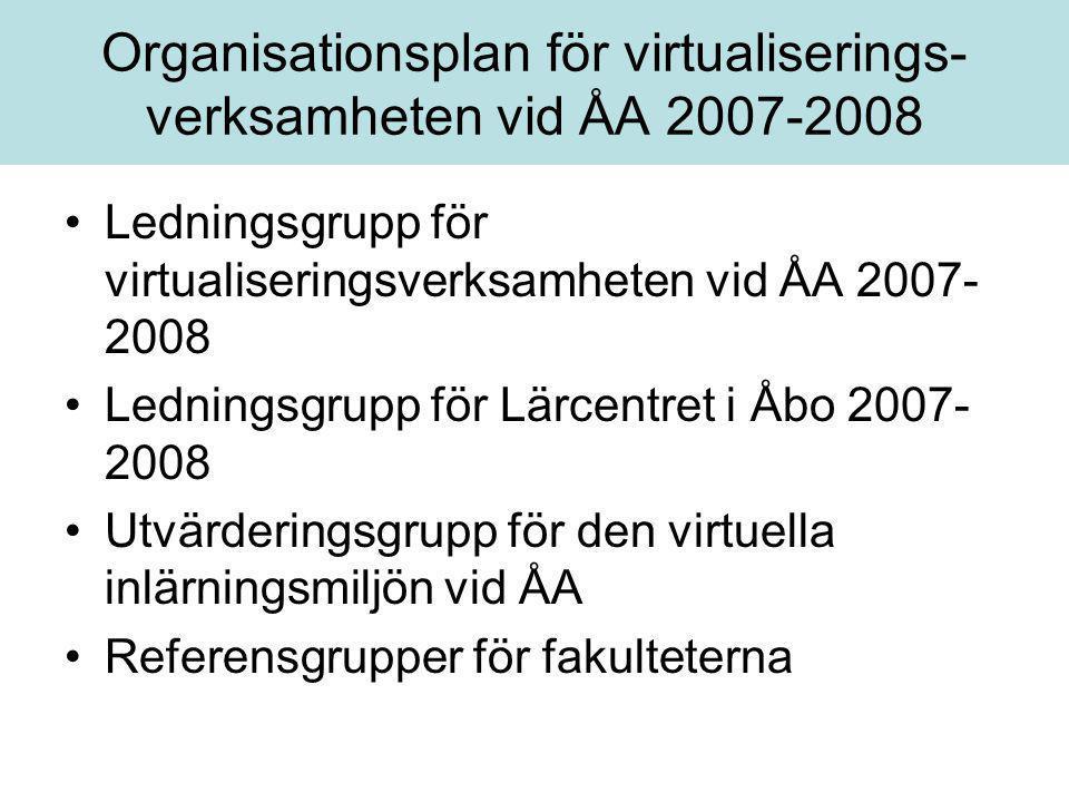 Organisationsplan för virtualiserings- verksamheten vid ÅA 2007-2008 •Ledningsgrupp för virtualiseringsverksamheten vid ÅA 2007- 2008 •Ledningsgrupp f