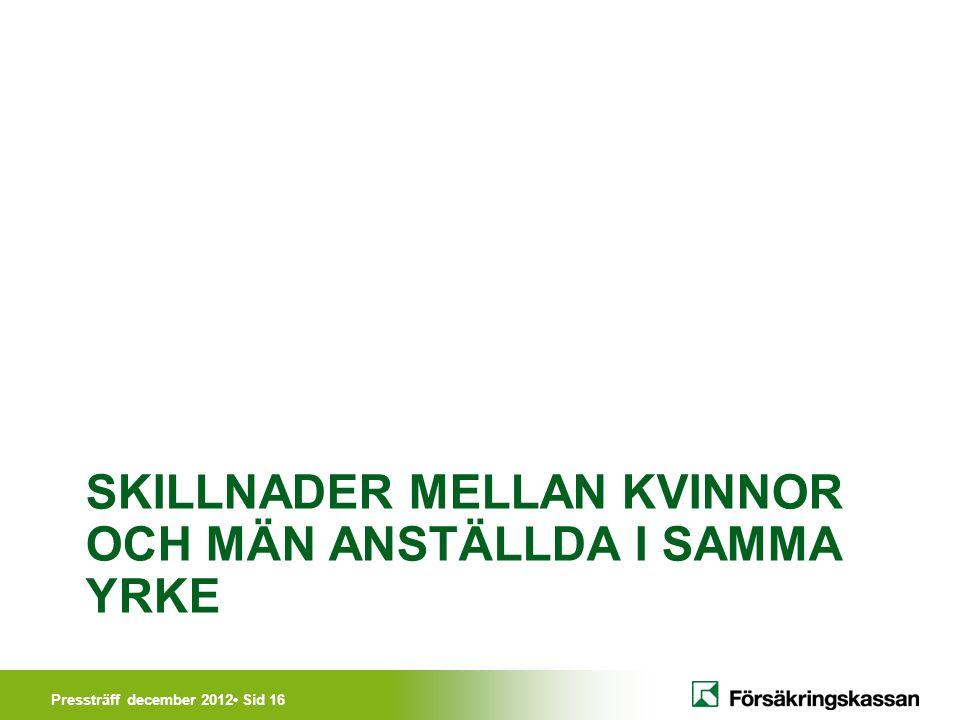 Pressträff december 2012• Sid 16 SKILLNADER MELLAN KVINNOR OCH MÄN ANSTÄLLDA I SAMMA YRKE