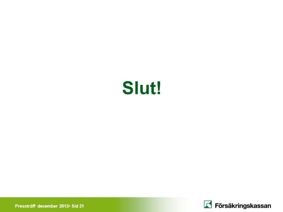 Pressträff december 2012• Sid 21 Slut!