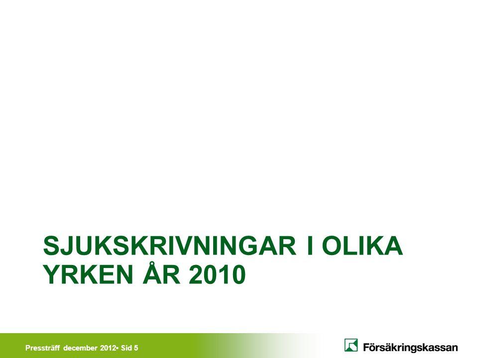 Pressträff december 2012• Sid 5 SJUKSKRIVNINGAR I OLIKA YRKEN ÅR 2010