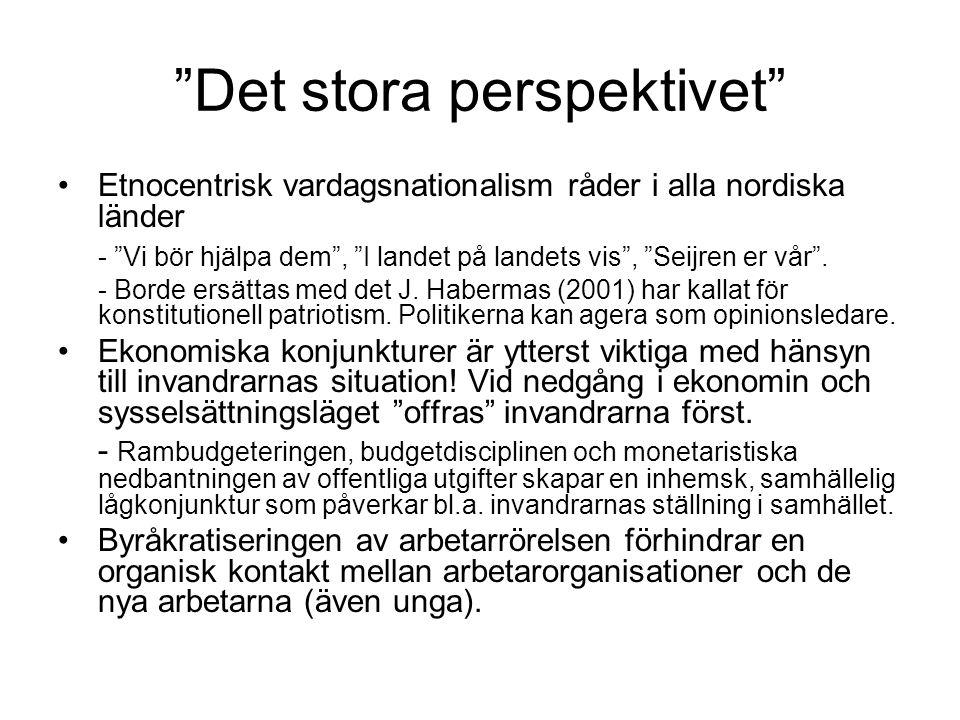 Det stora perspektivet •Etnocentrisk vardagsnationalism råder i alla nordiska länder - Vi bör hjälpa dem , I landet på landets vis , Seijren er vår .