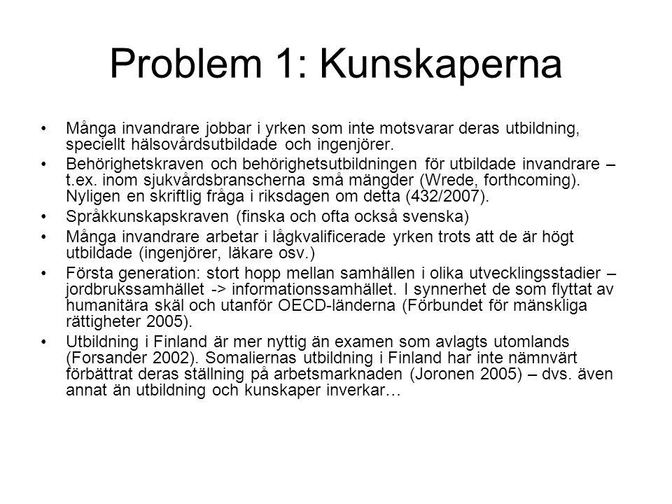 Problem 1: Kunskaperna •Många invandrare jobbar i yrken som inte motsvarar deras utbildning, speciellt hälsovårdsutbildade och ingenjörer.