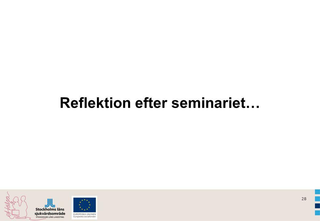 28 Reflektion efter seminariet…