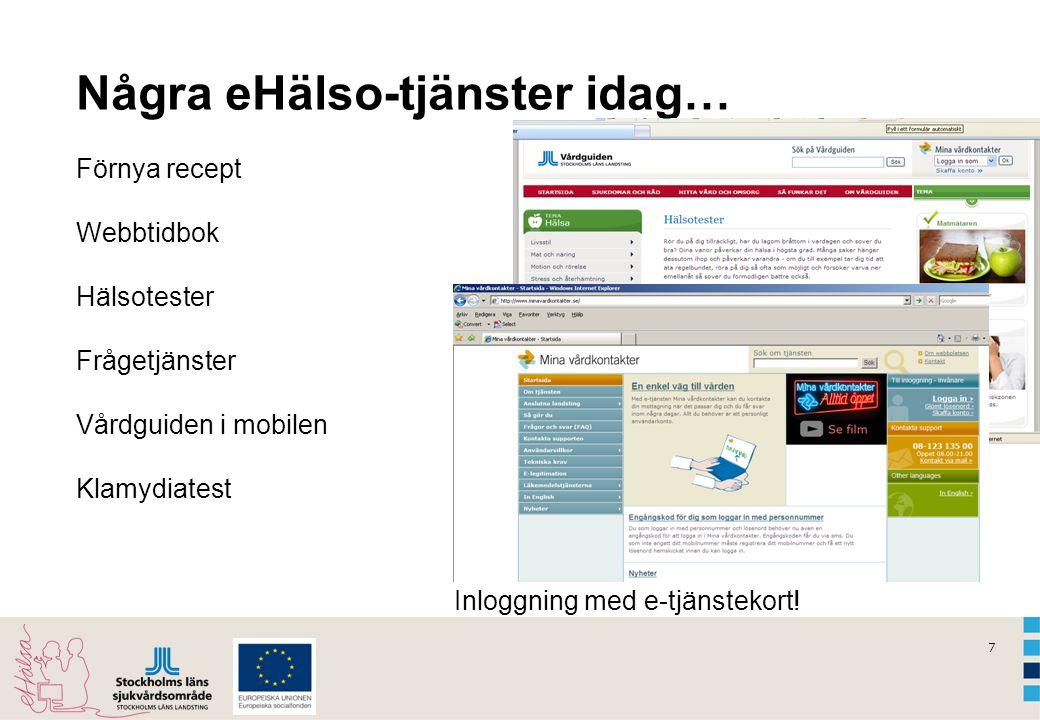 7 Inloggning med e-tjänstekort! Några eHälso-tjänster idag… Förnya recept Webbtidbok Hälsotester Frågetjänster Vårdguiden i mobilen Klamydiatest