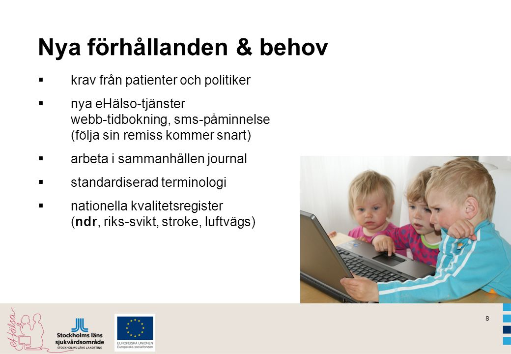 8 Nya förhållanden & behov  krav från patienter och politiker  nya eHälso-tjänster webb-tidbokning, sms-påminnelse (följa sin remiss kommer snart) 