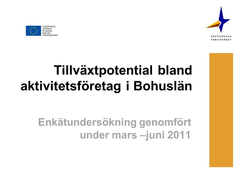 Tillväxtpotential bland aktivitetsföretag i Bohuslän Enkätundersökning genomfört under mars –juni 2011