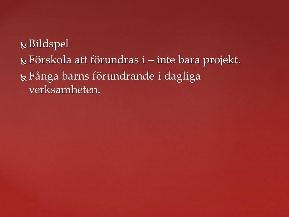  Bildspel  Förskola att förundras i – inte bara projekt.  Fånga barns förundrande i dagliga verksamheten.