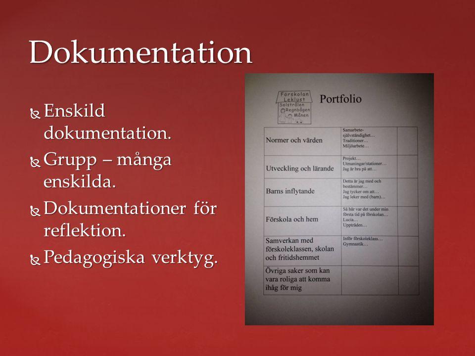 Dokumentation  Enskild dokumentation.  Grupp – många enskilda.  Dokumentationer för reflektion.  Pedagogiska verktyg.