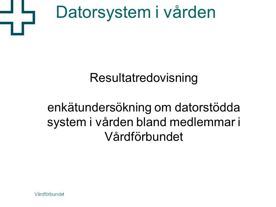 Vårdförbundet Resultatredovisning enkätundersökning om datorstödda system i vården bland medlemmar i Vårdförbundet Datorsystem i vården