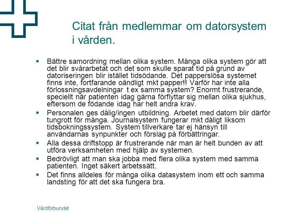 Vårdförbundet Citat från medlemmar om datorsystem i vården.