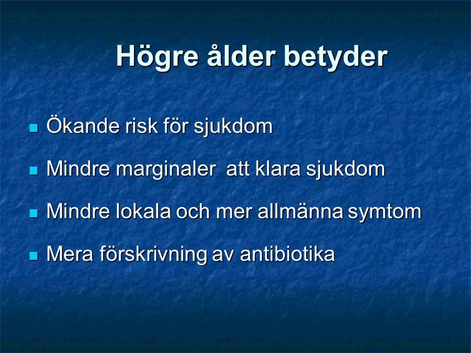Högre ålder betyder  Ökande risk för sjukdom  Mindre marginaler att klara sjukdom  Mindre lokala och mer allmänna symtom  Mera förskrivning av ant