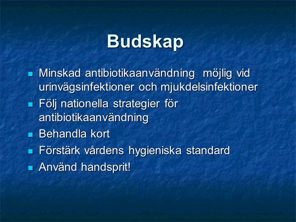 Budskap  Minskad antibiotikaanvändning möjlig vid urinvägsinfektioner och mjukdelsinfektioner  Följ nationella strategier för antibiotikaanvändning