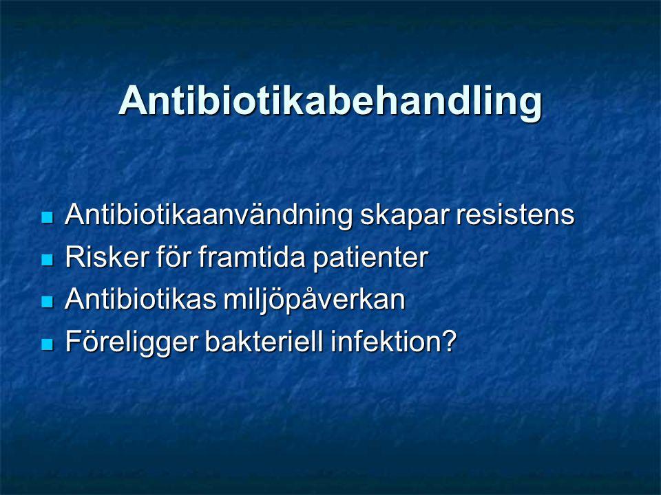 Antibiotikabehandling  Antibiotikaanvändning skapar resistens  Risker för framtida patienter  Antibiotikas miljöpåverkan  Föreligger bakteriell in