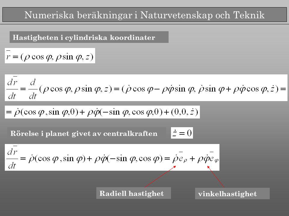 Numeriska beräkningar i Naturvetenskap och Teknik Hastigheten i cylindriska koordinater Rörelse i planet givet av centralkraften Radiell hastighet vinkelhastighet