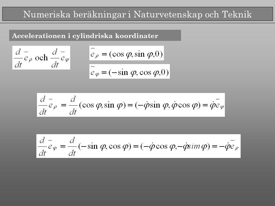 Numeriska beräkningar i Naturvetenskap och Teknik Accelerationen i cylindriska koordinater