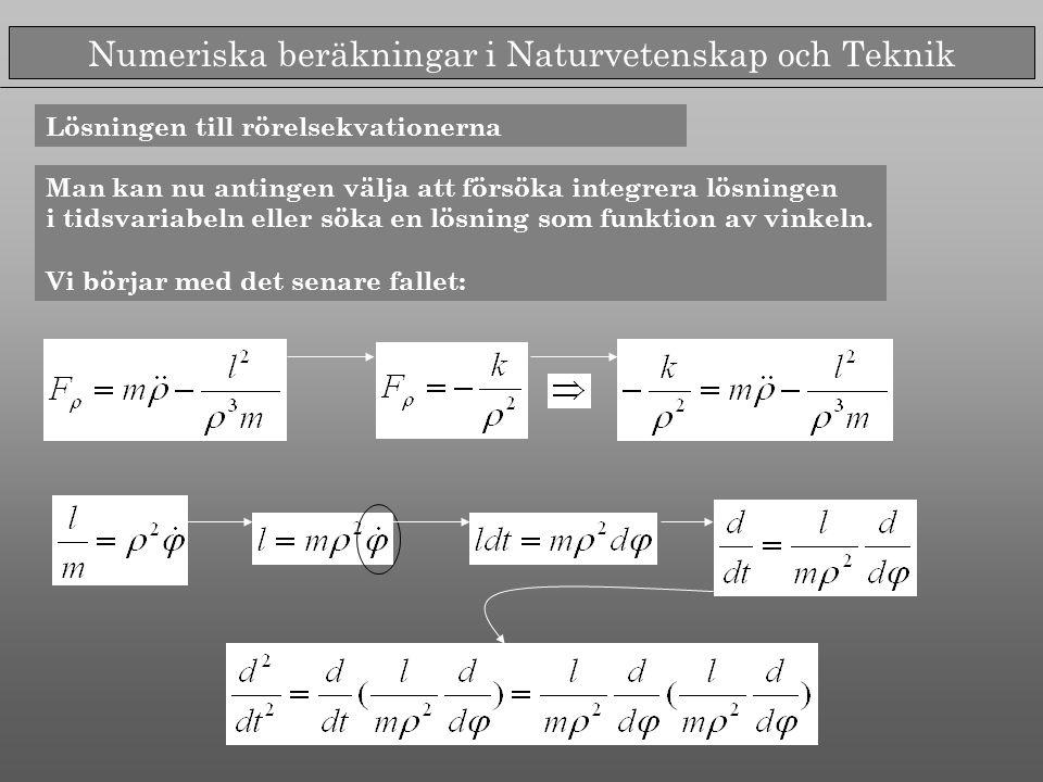 Numeriska beräkningar i Naturvetenskap och Teknik Lösningen till rörelsekvationerna Man kan nu antingen välja att försöka integrera lösningen i tidsvariabeln eller söka en lösning som funktion av vinkeln.