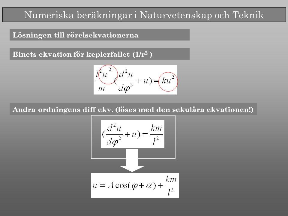 Numeriska beräkningar i Naturvetenskap och Teknik Lösningen till rörelsekvationerna Binets ekvation för keplerfallet (1/r 2 ) Andra ordningens diff ekv.