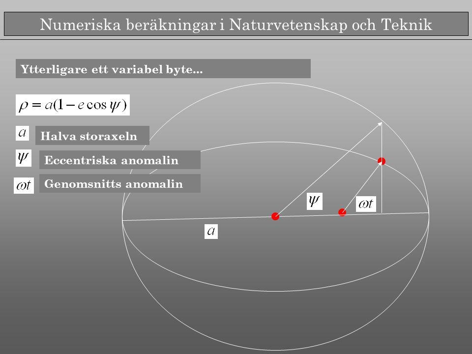Numeriska beräkningar i Naturvetenskap och Teknik Ytterligare ett variabel byte... Halva storaxeln Eccentriska anomalin Genomsnitts anomalin