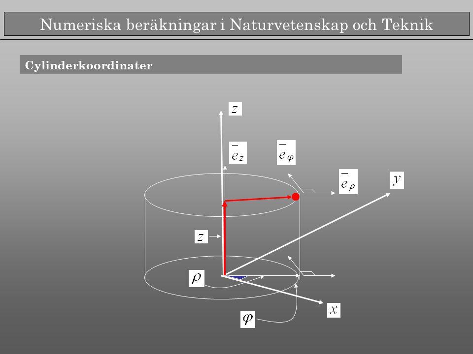 Numeriska beräkningar i Naturvetenskap och Teknik Vektor- och skalärprodukt i cylinderkoordinater Ortogonala Högersystem